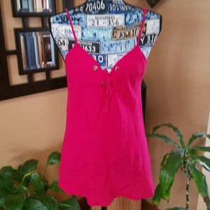 Tops - PINK SPAGHETTI STRAP LACE UP TANK TOP